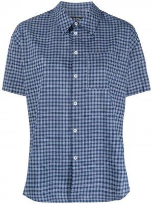 Клетчатая рубашка с короткими рукавами A.P.C.. Цвет: синий