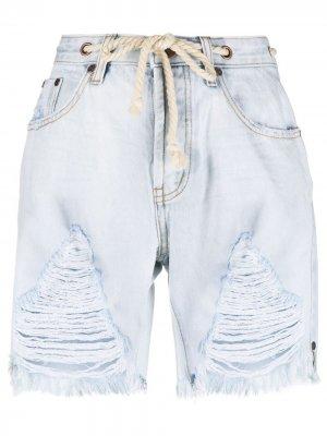 Джинсовые шорты с бахромой One Teaspoon. Цвет: синий