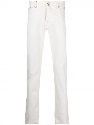 Узкие джинсы средней посадки Kiton. Цвет: белый
