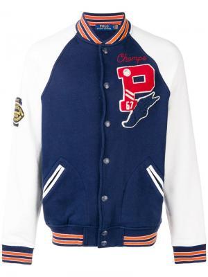 Куртка-бомбер в университетском стиле Polo Ralph Lauren. Цвет: синий
