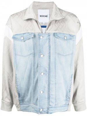Джинсовая куртка с контрастными вставками Koché. Цвет: синий