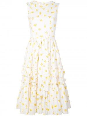 Ярусное платье с принтом и оборками Carolina Herrera. Цвет: белый