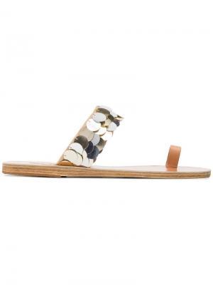 Сандалии с пайетками Thraki Ancient Greek Sandals. Цвет: металлик