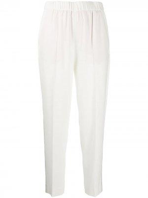 Зауженные брюки с эластичным поясом Escada. Цвет: белый