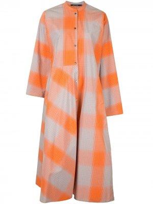 Sofie Dhoore платье-рубашка в клетку D'hoore. Цвет: оранжевый