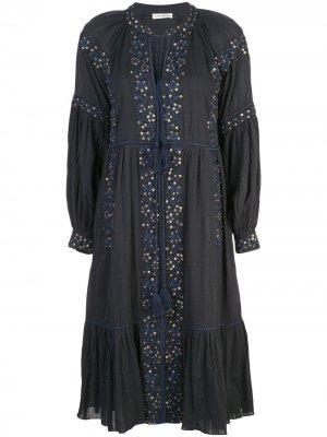 Платье с вышивкой Ulla Johnson. Цвет: синий