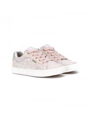 Кроссовки с цветочным принтом Geox Kids. Цвет: розовый