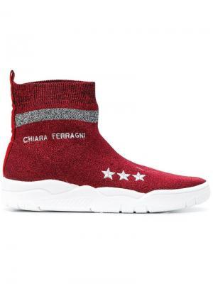 Кроссовки-носки с логотипом Chiara Ferragni. Цвет: красный