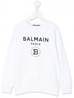 Свитер с длинными рукавами и логотипом Balmain Kids. Цвет: белый