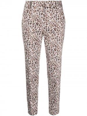 Укороченные брюки с геометричным принтом Peserico. Цвет: коричневый