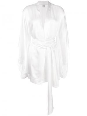 Короткий халат-кимоно Carine Gilson. Цвет: белый