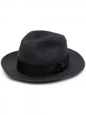 Плетеная шляпа-федора Borsalino. Цвет: черный