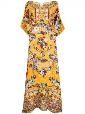 Платье-кафтан макси с цветочным принтом Camilla. Цвет: желтый