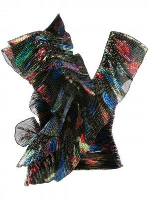 Плиссированная блузка с оборками Vionnet. Цвет: черный