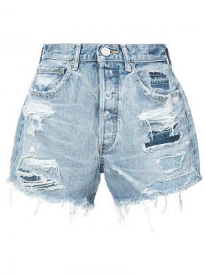 Джинсовые шорты с потертостями Moussy Vintage. Цвет: синий
