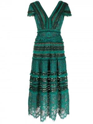 Платье миди Nisa Tadashi Shoji. Цвет: зеленый