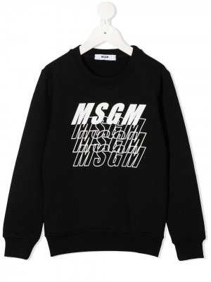 Свитер с логотипом Msgm Kids. Цвет: черный