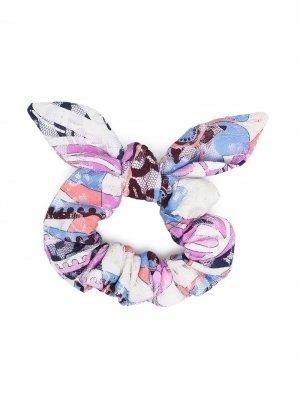 Резинка для волос с принтом Emilio Pucci Junior. Цвет: розовый