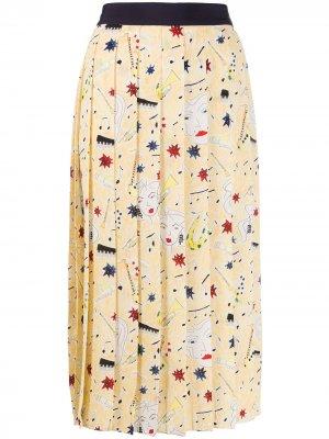 Плиссированная юбка Victoria Beckham. Цвет: желтый