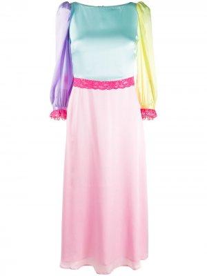 Платье в стиле колор-блок Olivia Rubin. Цвет: розовый