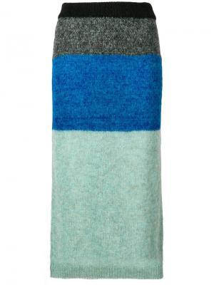 Трехцветная юбка Nude. Цвет: синий
