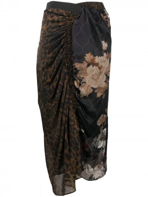 Драпированная юбка с принтом Preen By Thornton Bregazzi. Цвет: коричневый