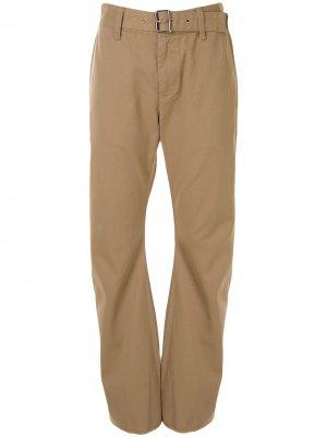 Расклешенные брюки с завышенной талией и поясом We11done. Цвет: коричневый