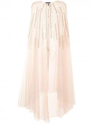 Платье из тюля с вышивкой бисером Marchesa Notte. Цвет: розовый