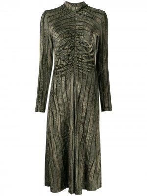 Бархатное платье миди Asher Stine Goya. Цвет: зеленый