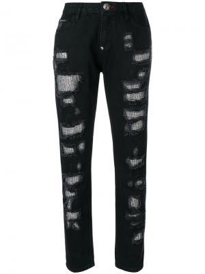 Декорированные джинсы бойфренда Philipp Plein. Цвет: черный