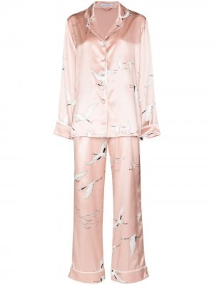 Bird print two-piece pajama set Olivia von Halle. Цвет: розовый