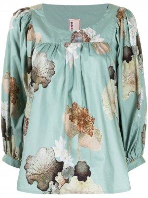 Блузка с пышными рукавами и цветочным принтом Antonio Marras. Цвет: синий
