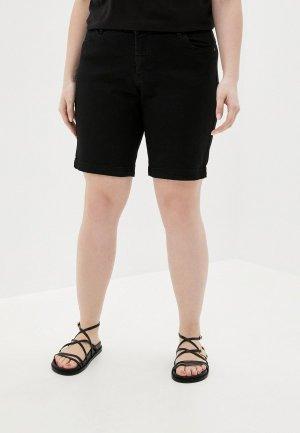 Шорты джинсовые Zizzi. Цвет: черный