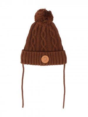 Фактурная шапка бини Mini Rodini. Цвет: коричневый