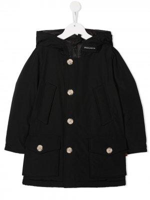 Куртка с капюшоном Woolrich Kids. Цвет: черный