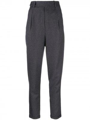 Зауженные брюки с завышенной талией Saint Laurent. Цвет: серый