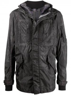Куртка с рукавами-перчатками и эффектом потертости 11 By Boris Bidjan Saberi. Цвет: серый