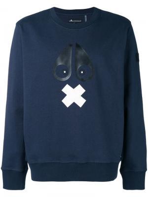 Logo print sweatshirt Moose Knuckles. Цвет: синий