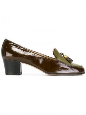 Лоферы с кисточками Céline Vintage. Цвет: коричневый