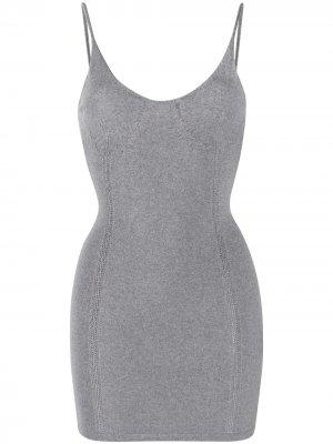 Короткое платье на бретелях Dsquared2. Цвет: серый