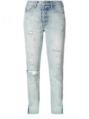 Рваные джинсы скинни Grlfrnd. Цвет: синий