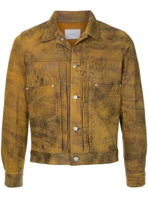 Кожаная куртка с эффектом потертости The Letters. Цвет: коричневый