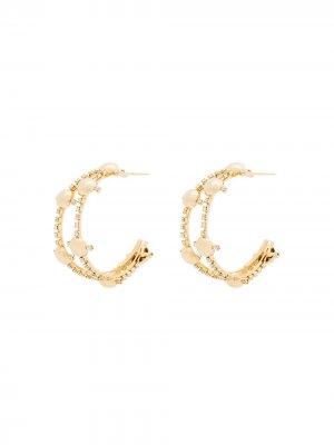 Серьги-кольца с кристаллами Rosantica. Цвет: золотистый