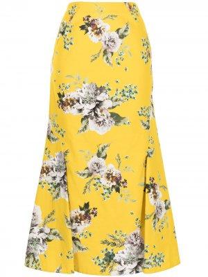 Юбка с принтом Carnation Bouquet Erdem. Цвет: желтый
