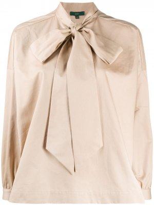 Блузка с бантом Jejia. Цвет: коричневый