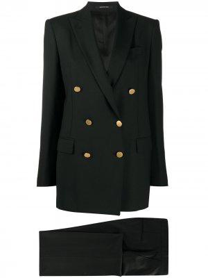 Костюм Jasmine с двубортным пиджаком Tagliatore. Цвет: черный