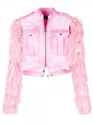 Укороченная куртка со съемным болеро Mr & Mrs Italy. Цвет: розовый