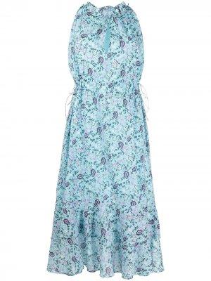 Платье А-силуэта с цветочным принтом Rebecca Minkoff. Цвет: синий