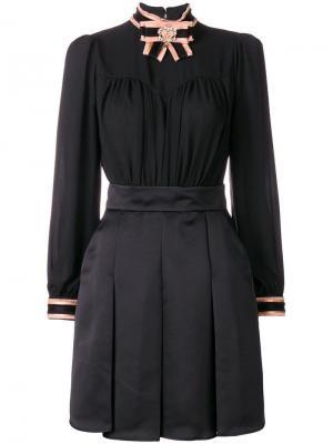 Короткое плиссированное платье Elisabetta Franchi. Цвет: черный