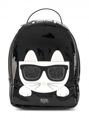 Рюкзак с аппликацией Karl Lagerfeld Kids. Цвет: черный